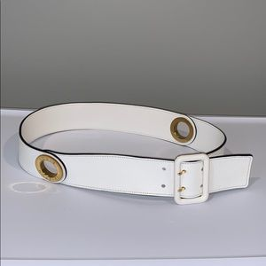 Louis Vuitton White Leather Belt w/Gold Hardware